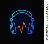 blue dj headphones with sound...