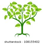 A green abstract tree illustration with branches growing into a heart shape. - stock photo