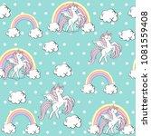 beautiful unicorn on a blue...   Shutterstock .eps vector #1081559408