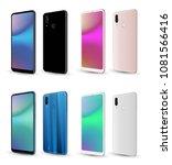 realistic smartphone mockup... | Shutterstock .eps vector #1081566416