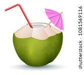 coconut cocktail with straw and ... | Shutterstock .eps vector #1081569116