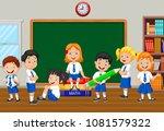 group of elementary school kids ... | Shutterstock .eps vector #1081579322