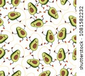 avocado seamless vector pattern ... | Shutterstock .eps vector #1081582232