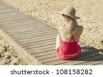 girl sitting back on track by... | Shutterstock . vector #108158282
