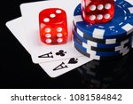 two aces  poker chips and red... | Shutterstock . vector #1081584842