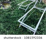 metal frame sun loungers on the ... | Shutterstock . vector #1081592336