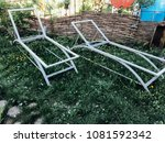 metal frame sun loungers on the ... | Shutterstock . vector #1081592342