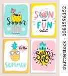 cute set of 4 bright summer... | Shutterstock .eps vector #1081596152