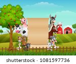 farm animals with a blank sign... | Shutterstock .eps vector #1081597736