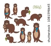 funny brown otter collection on ... | Shutterstock .eps vector #1081598645