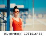 tourist girl wearing fashion...   Shutterstock . vector #1081616486