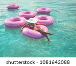 3d rendering. woman swimming on ... | Shutterstock . vector #1081642088