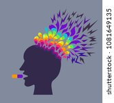 exploding head. drugs effect.  | Shutterstock .eps vector #1081649135