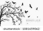 flock of flying birds on tree... | Shutterstock .eps vector #1081659062