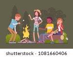 campfire outdoor fun. happy... | Shutterstock .eps vector #1081660406