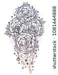 detailed hand drawn rose flower ... | Shutterstock .eps vector #1081664888