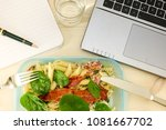 quick lunch. lunch box in front ... | Shutterstock . vector #1081667702