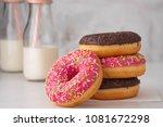 donut. sweet icing sugar food.... | Shutterstock . vector #1081672298