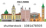 italy  parma. city skyline ... | Shutterstock .eps vector #1081678505