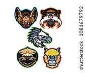 mascot icon illustration set of ... | Shutterstock .eps vector #1081679792