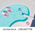 3d rendering. women swimming on ... | Shutterstock . vector #1081687748