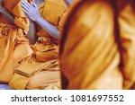 yellow robe of buddhist monks ... | Shutterstock . vector #1081697552