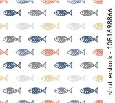 seamless pattern with fish.... | Shutterstock .eps vector #1081698866
