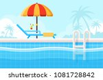 background with swimming pool ...   Shutterstock .eps vector #1081728842