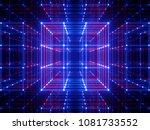 3d render  glowing lines  neon... | Shutterstock . vector #1081733552