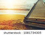 wooden pier on the background...   Shutterstock . vector #1081734305