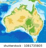 australia physical map....   Shutterstock .eps vector #1081735805