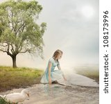 Young Blonde Girl at the Brook - stock photo