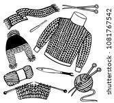 set of knitting. yarn and... | Shutterstock .eps vector #1081767542