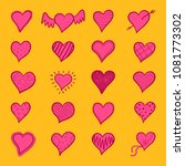 hand drawn hearts pink icon set | Shutterstock .eps vector #1081773302