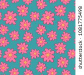 funny pink flower sketch... | Shutterstock .eps vector #1081775498