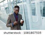 happy african american man... | Shutterstock . vector #1081807535