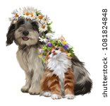 Stock photo puppy kitten and flowers watercolor drawing 1081824848