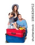 family travel suitcase  father... | Shutterstock . vector #1081826912