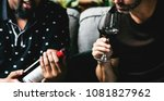 man tasting red wine with... | Shutterstock . vector #1081827962