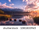 breathtaking view of the alpine ... | Shutterstock . vector #1081833965