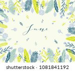 plant frame composition with... | Shutterstock .eps vector #1081841192
