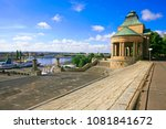 View on the Oder river and the city of Szczecin from the stairs of the Haken terraces, Szczecin, Poland