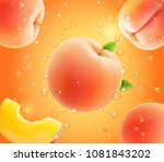 peach falling in juice.... | Shutterstock .eps vector #1081843202