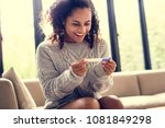 woman with a pregnancy test   Shutterstock . vector #1081849298