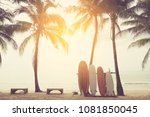 surfboard and palm tree on... | Shutterstock . vector #1081850045