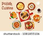 polish cuisine icon with meat...   Shutterstock .eps vector #1081855106