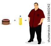 fat man. unhealthy lifestyle.... | Shutterstock . vector #1081860242