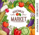 vegetable market poster with... | Shutterstock .eps vector #1081861925