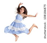 Jumping Happy Little Girl ...