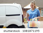 woman running mobile cleaning... | Shutterstock . vector #1081871195